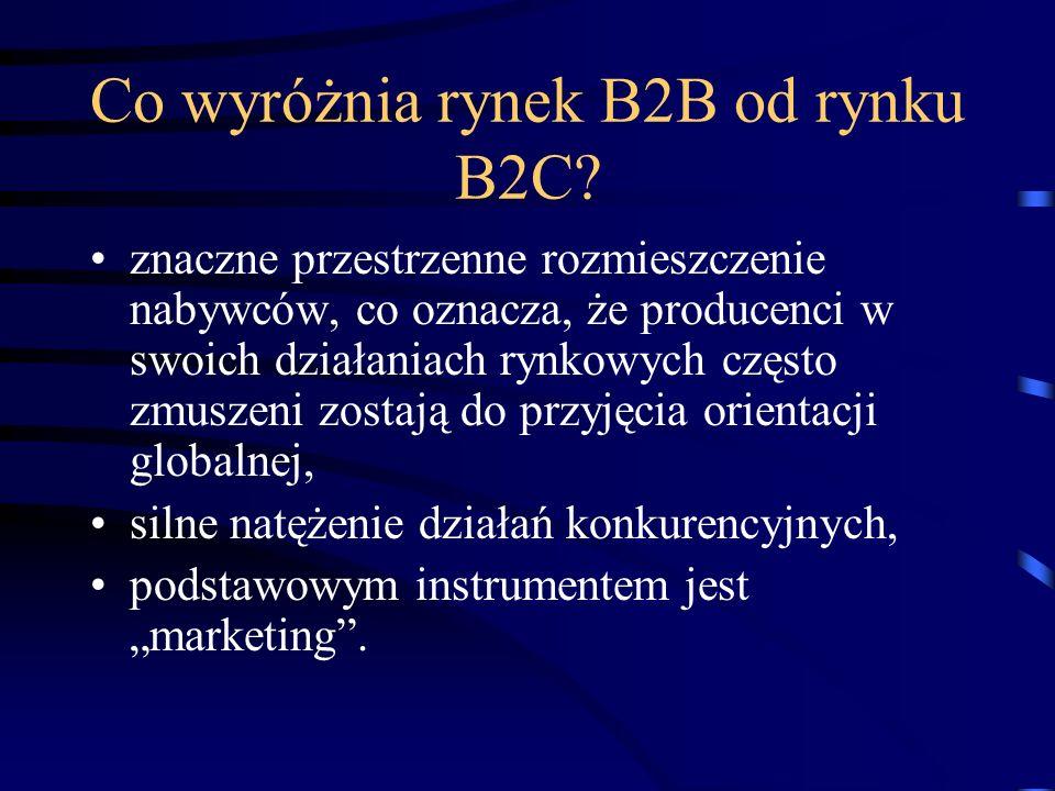 Co wyróżnia rynek B2B od rynku B2C? znaczne przestrzenne rozmieszczenie nabywców, co oznacza, że producenci w swoich działaniach rynkowych często zmus