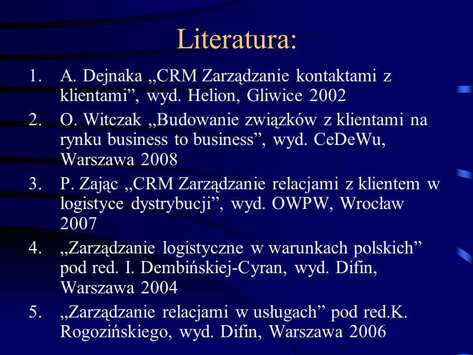 """Literatura: 1.A. Dejnaka """"CRM Zarządzanie kontaktami z klientami"""", wyd. Helion, Gliwice 2002 2.O. Witczak """"Budowanie związków z klientami na rynku bus"""