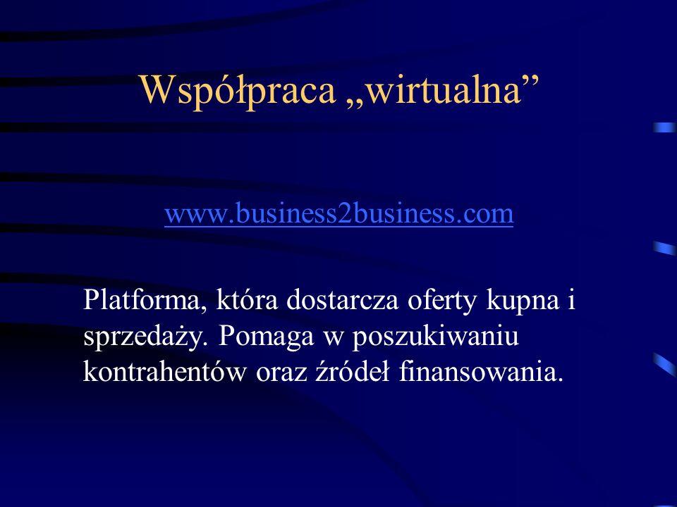 """Współpraca """"wirtualna"""" www.business2business.com Platforma, która dostarcza oferty kupna i sprzedaży. Pomaga w poszukiwaniu kontrahentów oraz źródeł f"""