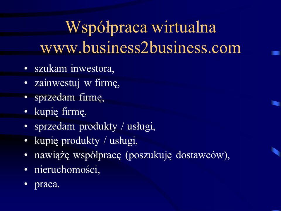 Współpraca wirtualna www.business2business.com szukam inwestora, zainwestuj w firmę, sprzedam firmę, kupię firmę, sprzedam produkty / usługi, kupię produkty / usługi, nawiążę współpracę (poszukuję dostawców), nieruchomości, praca.