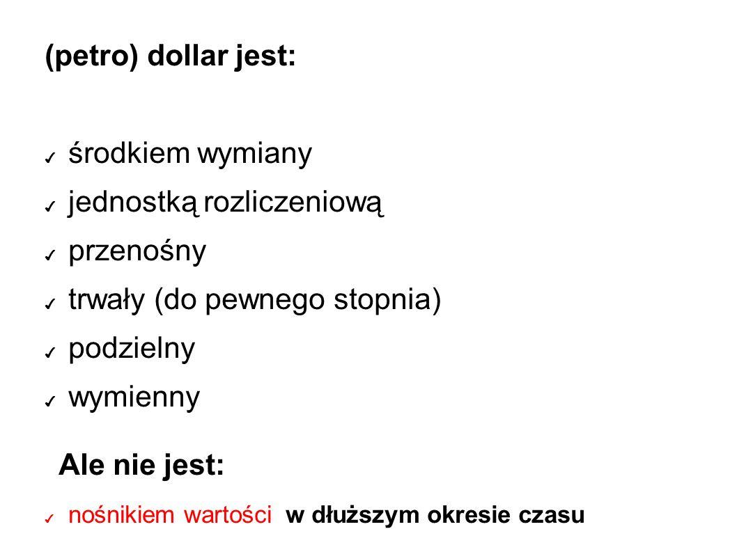 (petro) dollar jest: ✔ środkiem wymiany ✔ jednostką rozliczeniową ✔ przenośny ✔ trwały (do pewnego stopnia) ✔ podzielny ✔ wymienny Ale nie jest: ✔ nośnikiem wartości w dłuższym okresie czasu