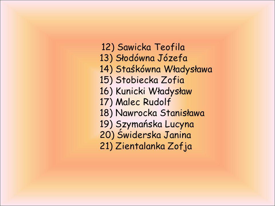 12) Sawicka Teofila 13) Słodówna Józefa 14) Staśkówna Władysława 15) Stobiecka Zofia 16) Kunicki Władysław 17) Malec Rudolf 18) Nawrocka Stanisława 19