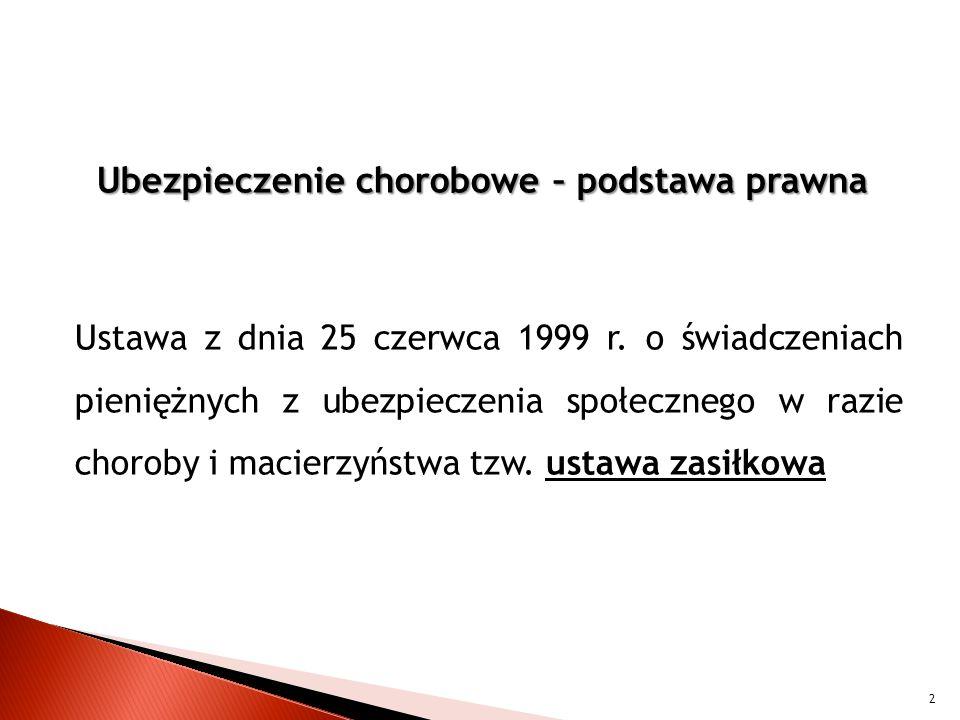 Ubezpieczenie chorobowe – podstawa prawna Ustawa z dnia 25 czerwca 1999 r.