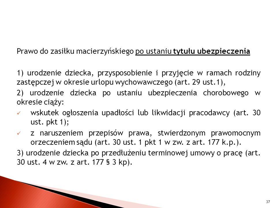 Prawo do zasiłku macierzyńskiego po ustaniu tytułu ubezpieczenia 1) urodzenie dziecka, przysposobienie i przyjęcie w ramach rodziny zastępczej w okresie urlopu wychowawczego (art.