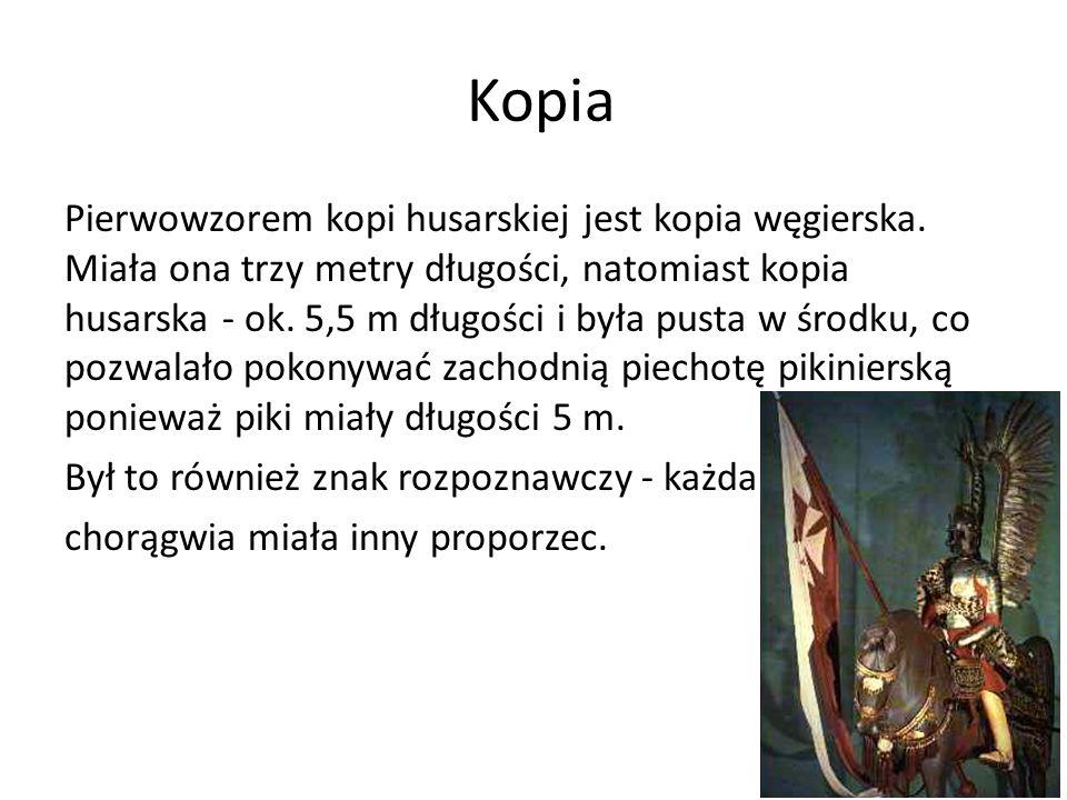 Kopia Pierwowzorem kopi husarskiej jest kopia węgierska. Miała ona trzy metry długości, natomiast kopia husarska - ok. 5,5 m długości i była pusta w ś