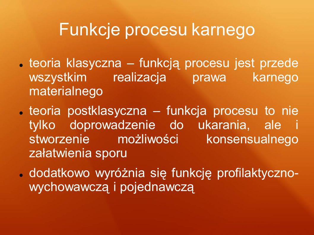 Funkcje procesu karnego teoria klasyczna – funkcją procesu jest przede wszystkim realizacja prawa karnego materialnego teoria postklasyczna – funkcja