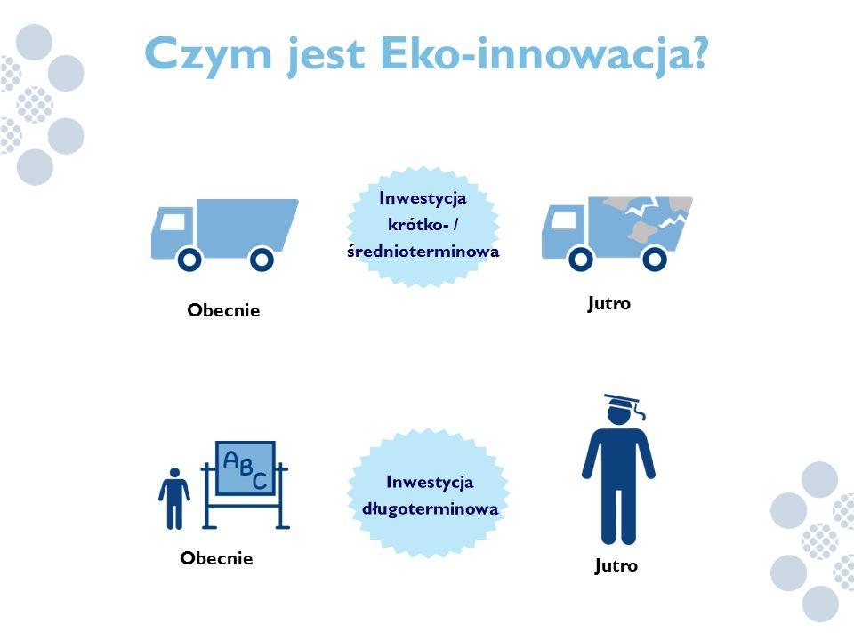 Jutro Obecnie Jutro Obecnie Czym jest Eko-innowacja? Inwestycja krótko- / średnioterminowa Inwestycja długoterminowa