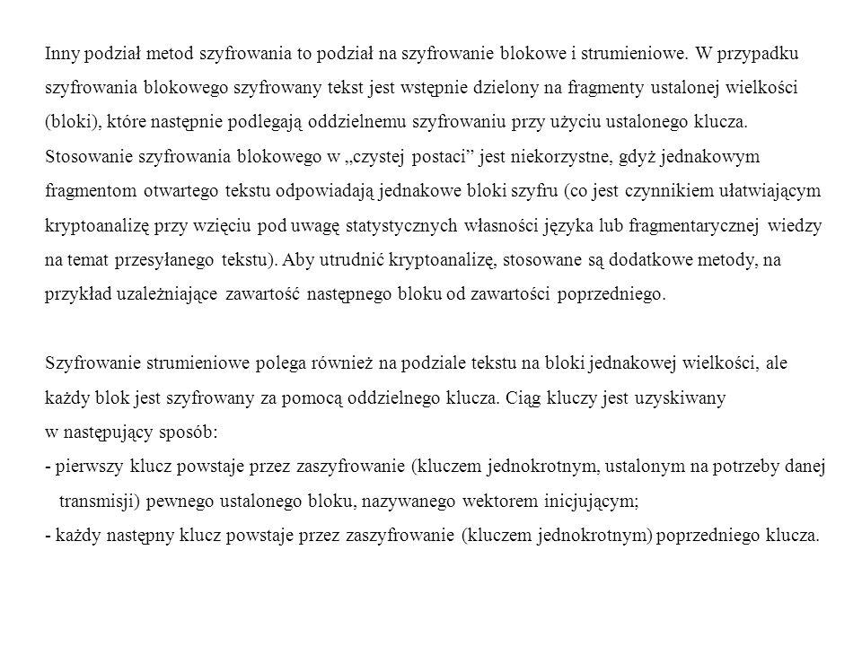 Zestawienie własności algorytmów opartych na kluczu symetrycznym [A.