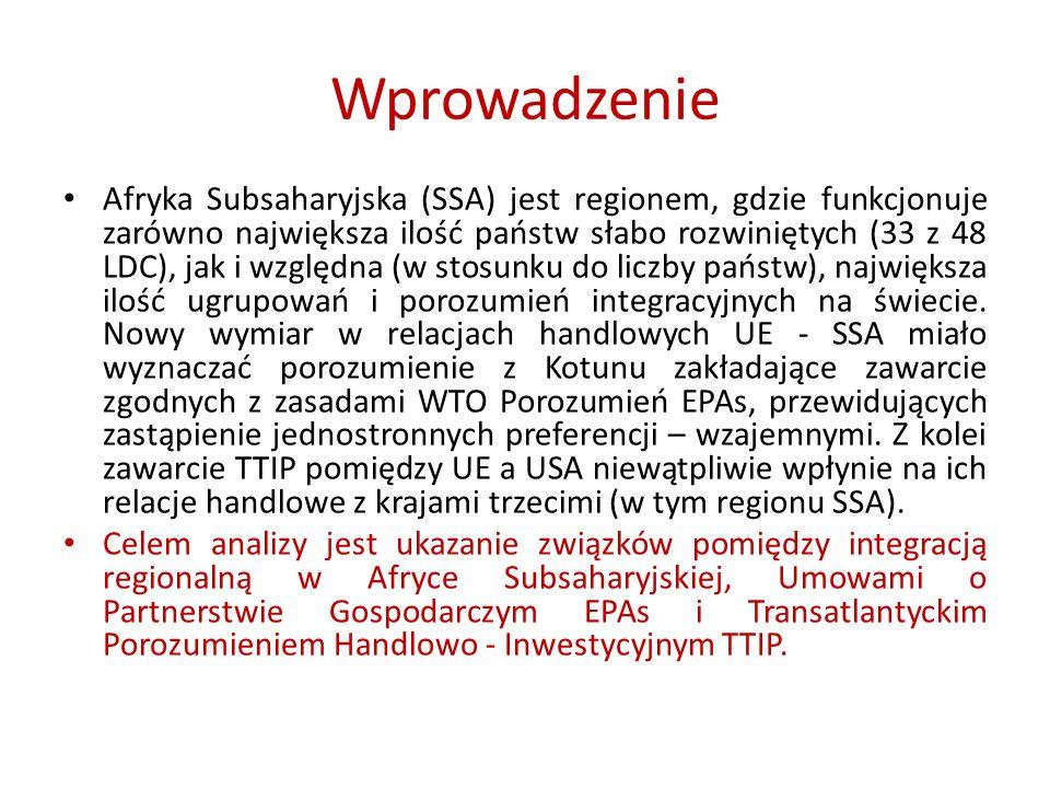 Analiza SWOT Transatlantyckiego Partnerstwa Handlowo- Inwestycyjnego z punktu widzenia relacji handlowych krajów SSA Słabe stronyMocne strony 1.