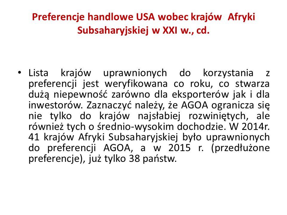 Preferencje handlowe USA wobec krajów Afryki Subsaharyjskiej w XXI w., cd. Lista krajów uprawnionych do korzystania z preferencji jest weryfikowana co
