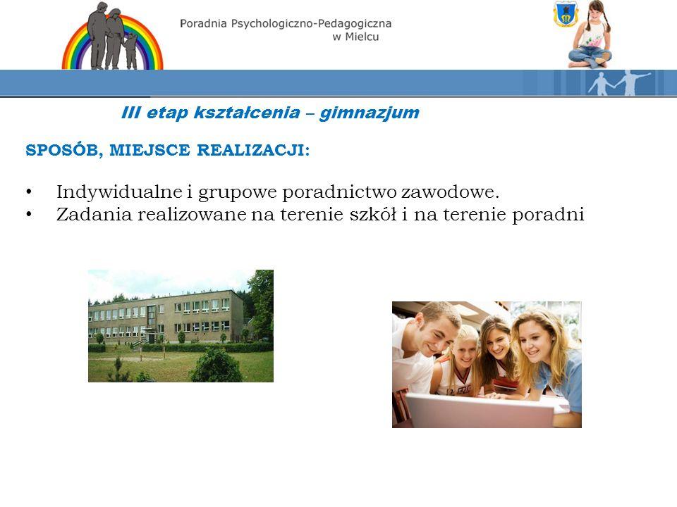 III etap kształcenia – gimnazjum SPOSÓB, MIEJSCE REALIZACJI: Indywidualne i grupowe poradnictwo zawodowe.