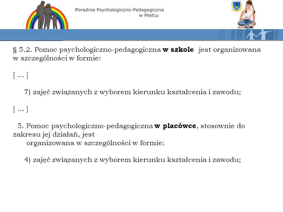 § 5.2. Pomoc psychologiczno-pedagogiczna w szkole jest organizowana w szczególności w formie: [...