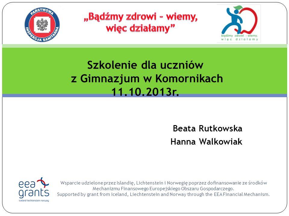 Beata Rutkowska Hanna Walkowiak Wsparcie udzielone przez Islandię, Lichtenstein i Norwegię poprzez dofinansowanie ze środków Mechanizmu Finansowego Europejskiego Obszaru Gospodarczego.