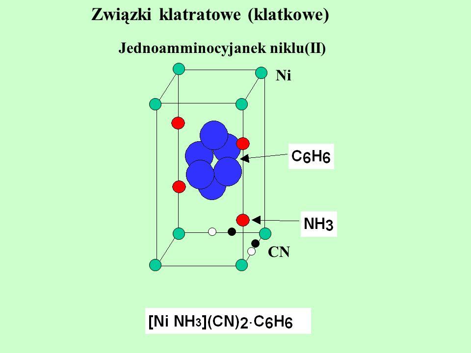 Związki klatratowe (klatkowe) Jednoamminocyjanek niklu(II) Ni CN