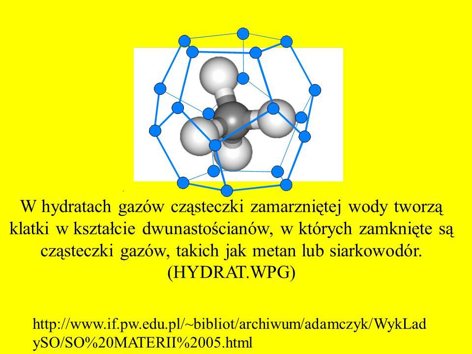 W hydratach gazów cząsteczki zamarzniętej wody tworzą klatki w kształcie dwunastościanów, w których zamknięte są cząsteczki gazów, takich jak metan lu