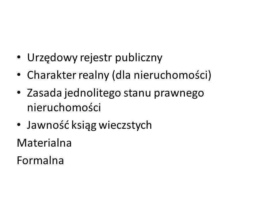 Urzędowy rejestr publiczny Charakter realny (dla nieruchomości) Zasada jednolitego stanu prawnego nieruchomości Jawność ksiąg wieczstych Materialna Formalna
