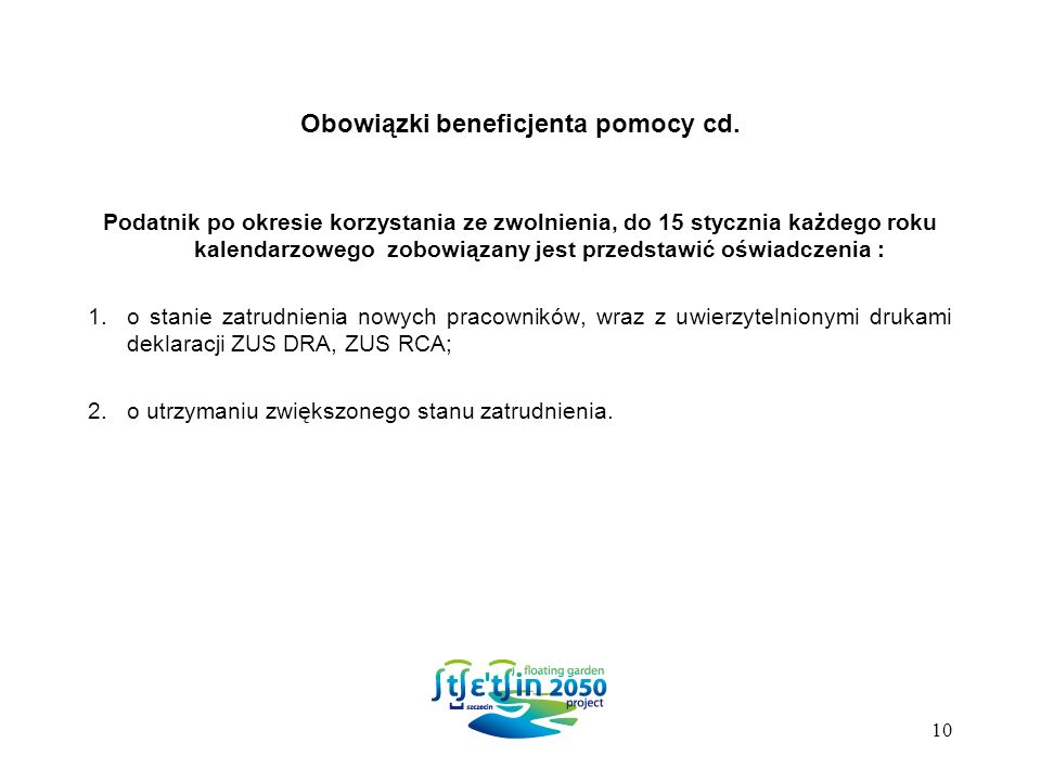 Obowiązki beneficjenta pomocy cd.