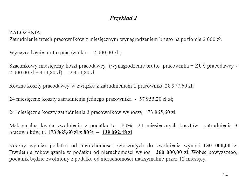 Przykład 2 ZAŁOŻENIA: Zatrudnienie trzech pracowników z miesięcznym wynagrodzeniem brutto na poziomie 2 000 zł.