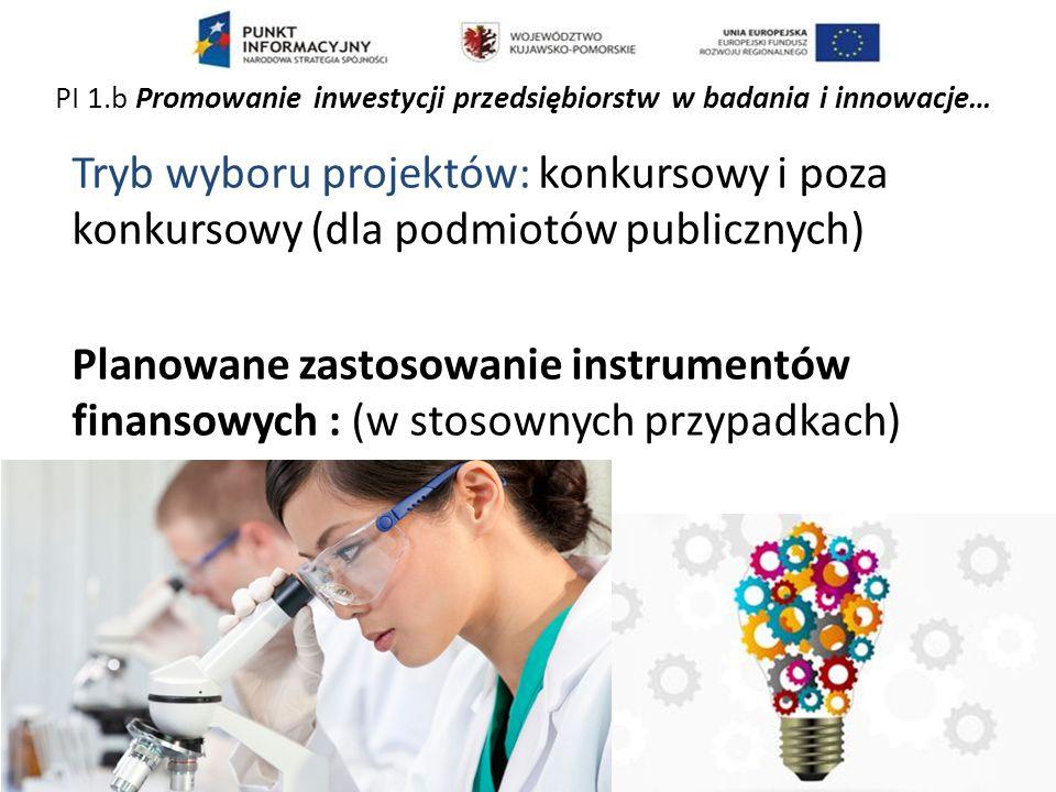 Tryb wyboru projektów: konkursowy i poza konkursowy (dla podmiotów publicznych) Planowane zastosowanie instrumentów finansowych : (w stosownych przypadkach) PI 1.b Promowanie inwestycji przedsiębiorstw w badania i innowacje…