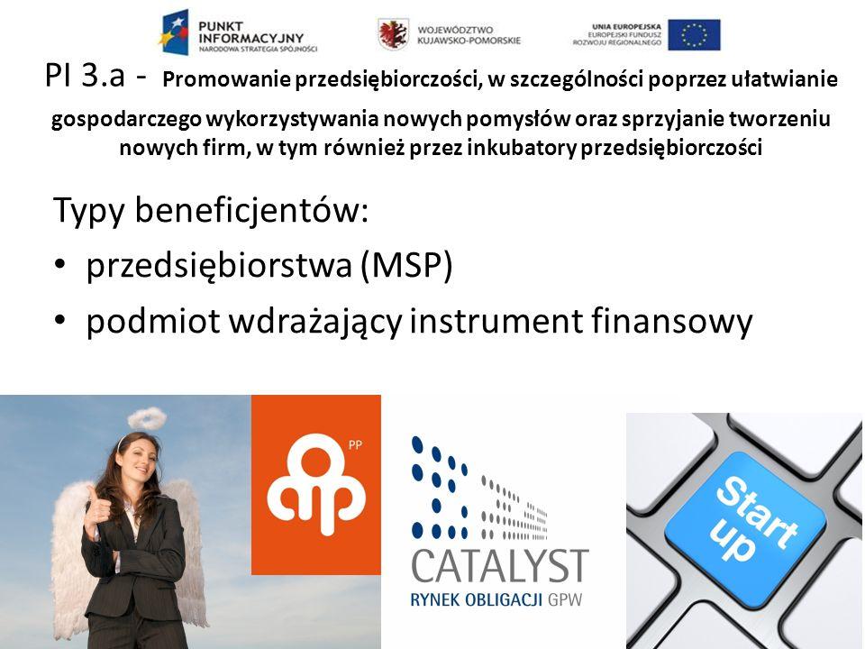 PI 3.a - Promowanie przedsiębiorczości, w szczególności poprzez ułatwianie gospodarczego wykorzystywania nowych pomysłów oraz sprzyjanie tworzeniu nowych firm, w tym również przez inkubatory przedsiębiorczości Typy beneficjentów: przedsiębiorstwa (MSP) podmiot wdrażający instrument finansowy