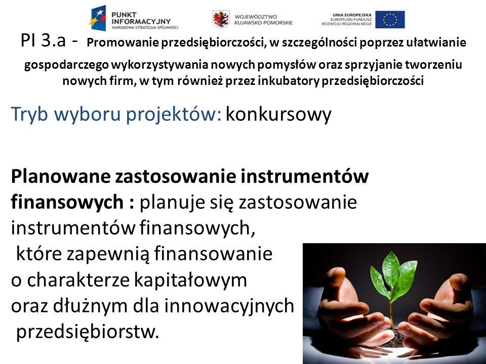 Tryb wyboru projektów: konkursowy Planowane zastosowanie instrumentów finansowych : planuje się zastosowanie instrumentów finansowych, które zapewnią finansowanie o charakterze kapitałowym oraz dłużnym dla innowacyjnych przedsiębiorstw.