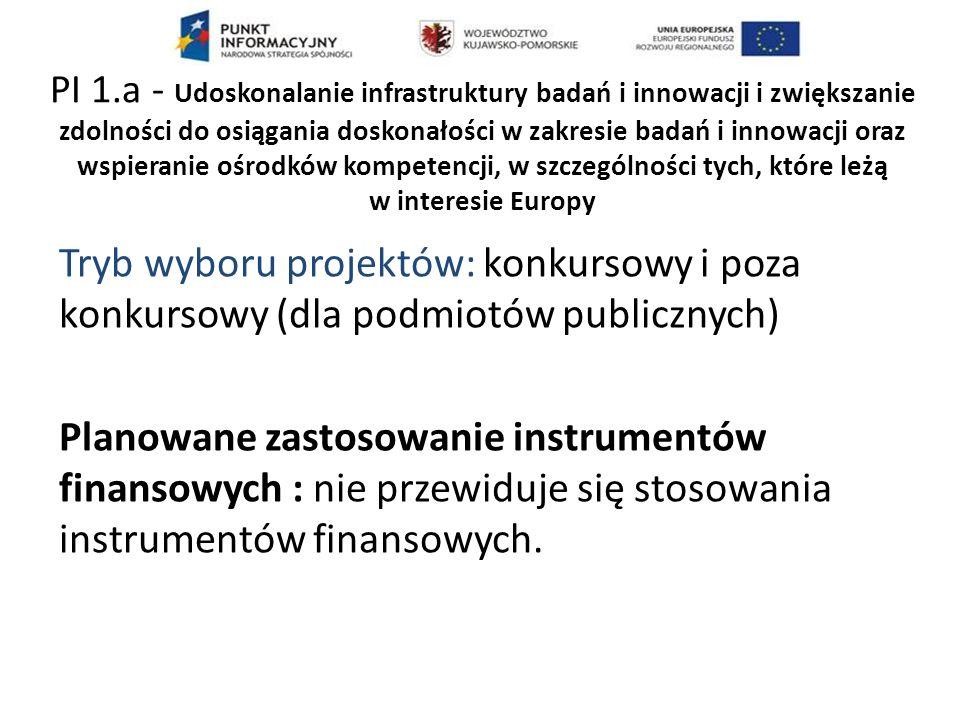 Tryb wyboru projektów: konkursowy i poza konkursowy (dla podmiotów publicznych) Planowane zastosowanie instrumentów finansowych : nie przewiduje się stosowania instrumentów finansowych.