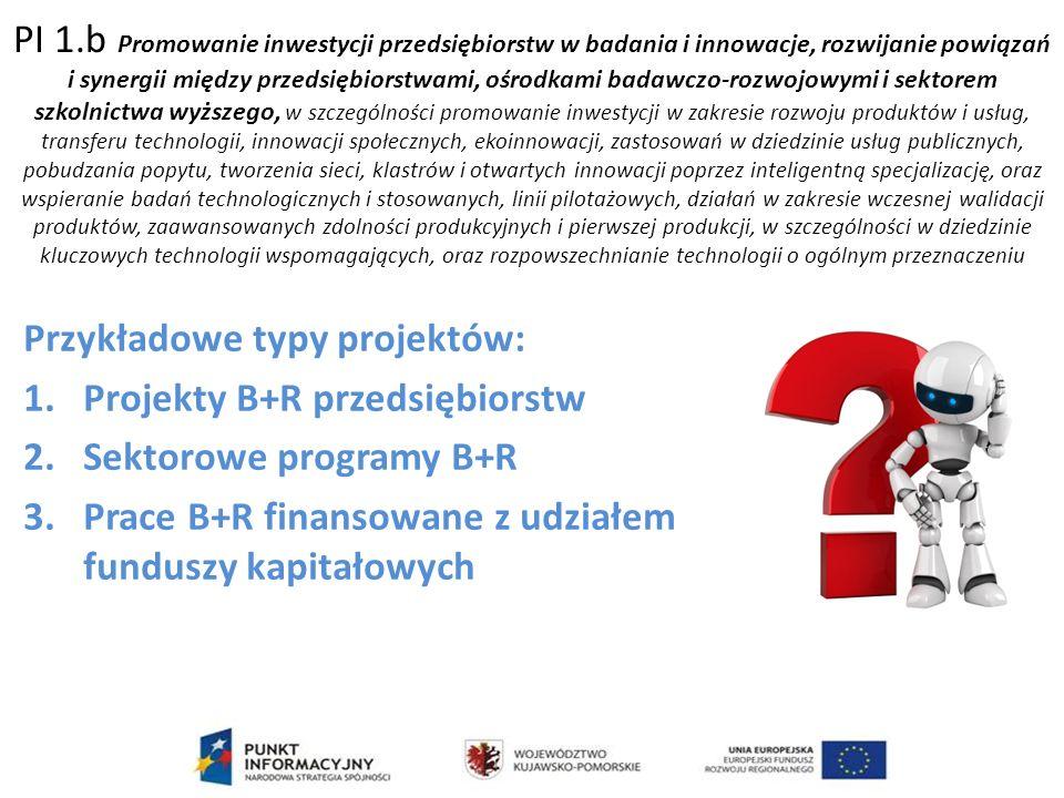 PI 1.b Promowanie inwestycji przedsiębiorstw w badania i innowacje, rozwijanie powiązań i synergii między przedsiębiorstwami, ośrodkami badawczo-rozwojowymi i sektorem szkolnictwa wyższego, w szczególności promowanie inwestycji w zakresie rozwoju produktów i usług, transferu technologii, innowacji społecznych, ekoinnowacji, zastosowań w dziedzinie usług publicznych, pobudzania popytu, tworzenia sieci, klastrów i otwartych innowacji poprzez inteligentną specjalizację, oraz wspieranie badań technologicznych i stosowanych, linii pilotażowych, działań w zakresie wczesnej walidacji produktów, zaawansowanych zdolności produkcyjnych i pierwszej produkcji, w szczególności w dziedzinie kluczowych technologii wspomagających, oraz rozpowszechnianie technologii o ogólnym przeznaczeniu Przykładowe typy projektów: 1.Projekty B+R przedsiębiorstw 2.Sektorowe programy B+R 3.Prace B+R finansowane z udziałem funduszy kapitałowych