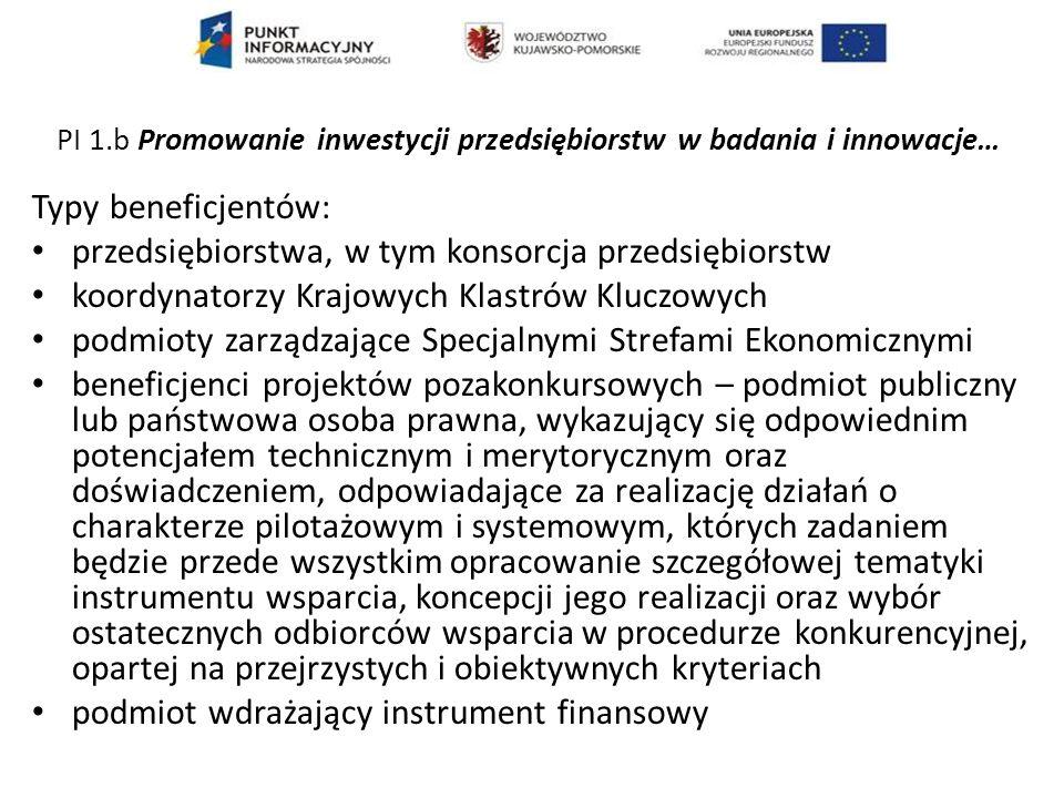 Przykładowe typy projektów: 1.Badania naukowe i prace rozwojowe 2.Rozwój nowoczesnej infrastruktury badawczej sektora nauki 3.Międzynarodowe agendy badawcze 4.Zwiększanie potencjału kadrowego sektora B+R PI 1.a - Udoskonalanie infrastruktury badań i innowacji i zwiększanie zdolności do osiągania doskonałości w zakresie badań i innowacji oraz wspieranie ośrodków kompetencji, w szczególności tych, które leżą w interesie Europy