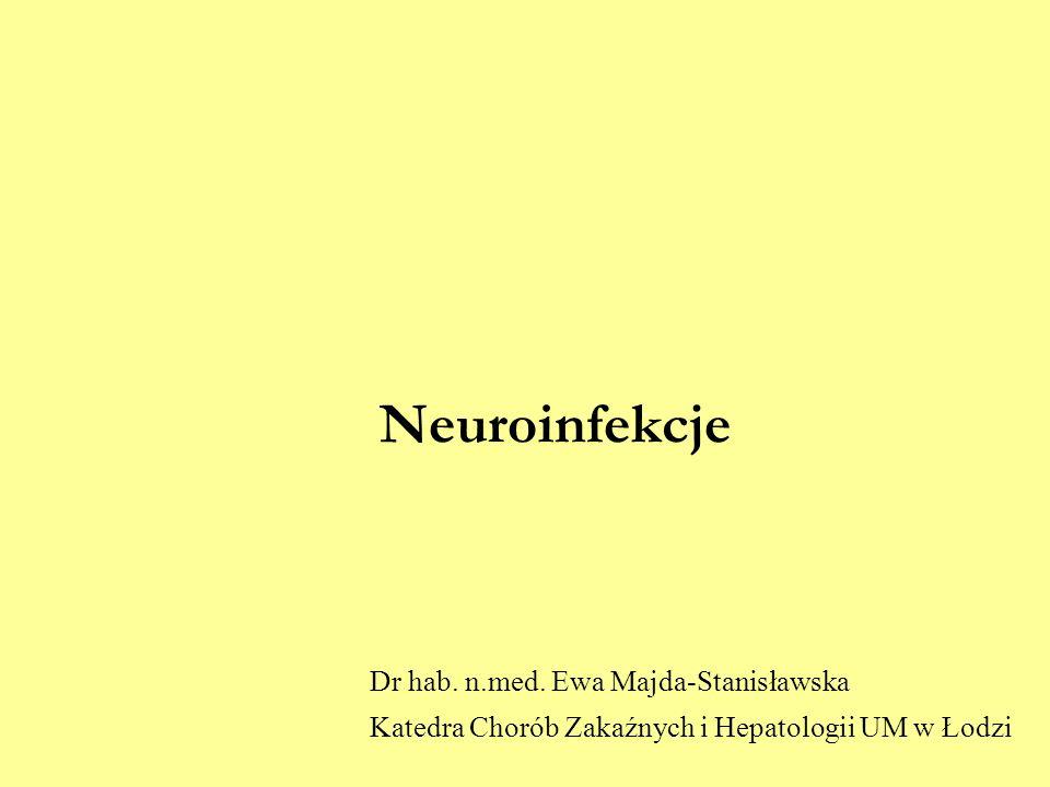 Neuroinfekcje Dr hab. n.med. Ewa Majda-Stanisławska Katedra Chorób Zakaźnych i Hepatologii UM w Łodzi