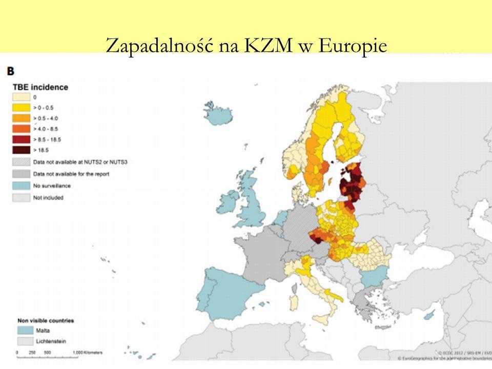 Zapadalność na KZM w Europie