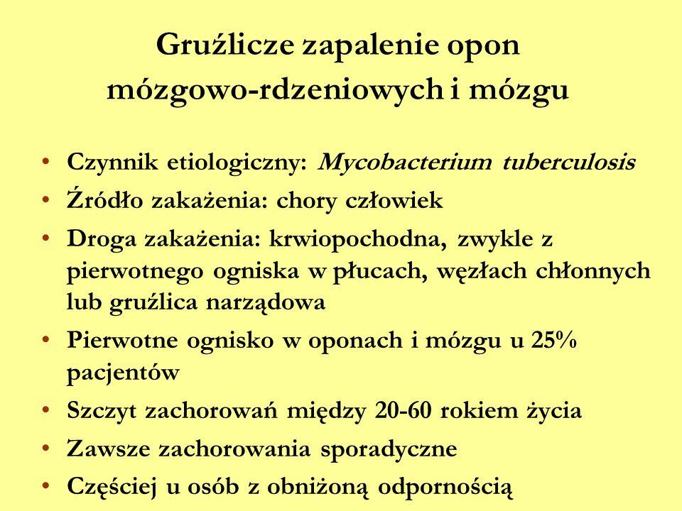 Gruźlicze zapalenie opon mózgowo-rdzeniowych i mózgu Czynnik etiologiczny: Mycobacterium tuberculosis Źródło zakażenia: chory człowiek Droga zakażenia
