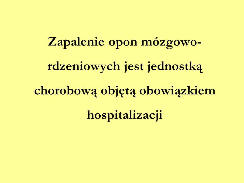 Zapalenie opon mózgowo- rdzeniowych jest jednostką chorobową objętą obowiązkiem hospitalizacji