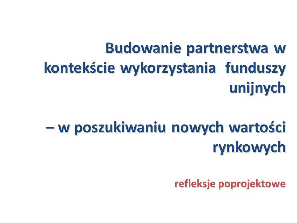 Budowanie partnerstwa w kontekście wykorzystania funduszy unijnych – w poszukiwaniu nowych wartości rynkowych refleksje poprojektowe