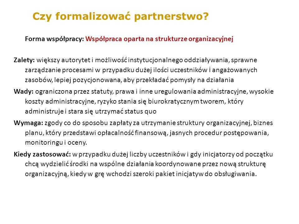 Forma współpracy: Współpraca oparta na strukturze organizacyjnej Zalety: większy autorytet i możliwość instytucjonalnego oddziaływania, sprawne zarządzanie procesami w przypadku dużej ilości uczestników i angażowanych zasobów, lepiej pozycjonowana, aby przekładać pomysły na działania Wady: ograniczona przez statuty, prawa i inne uregulowania administracyjne, wysokie koszty administracyjne, ryzyko stania się biurokratycznym tworem, który administruje i stara się utrzymać status quo Wymaga: zgody co do sposobu zapłaty za utrzymanie struktury organizacyjnej, biznes planu, który przedstawi opłacalność finansową, jasnych procedur postępowania, monitoringu i oceny.