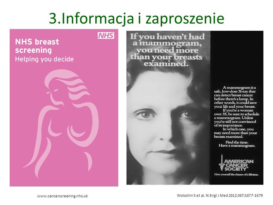 3.Informacja i zaproszenie Woloshin S et al. N Engl J Med 2012;367:1677-1679 www.cancerscreening.nhs.uk