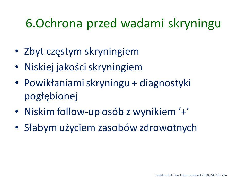 6.Ochrona przed wadami skryningu Zbyt częstym skryningiem Niskiej jakości skryningiem Powikłaniami skryningu + diagnostyki pogłębionej Niskim follow-u