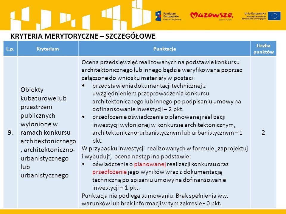 L.p.KryteriumPunktacja Liczba punktów 9. Obiekty kubaturowe lub przestrzeni publicznych wyłonione w ramach konkursu architektonicznego, architektonicz