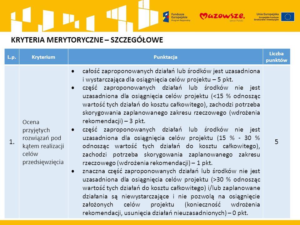L.p.KryteriumPunktacja Liczba punktów 1. Ocena przyjętych rozwiązań pod kątem realizacji celów przedsięwzięcia  całość zaproponowanych działań lub śr