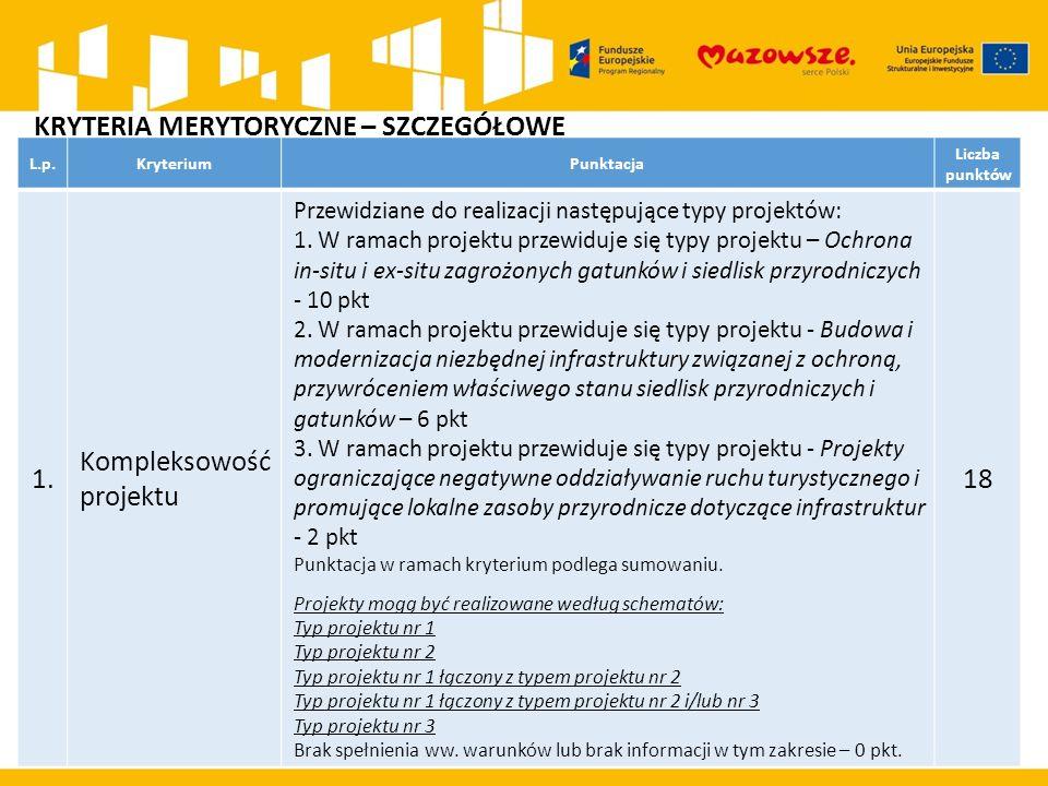 L.p.KryteriumPunktacja Liczba punktów 1. Kompleksowość projektu Przewidziane do realizacji następujące typy projektów: 1. W ramach projektu przewiduje