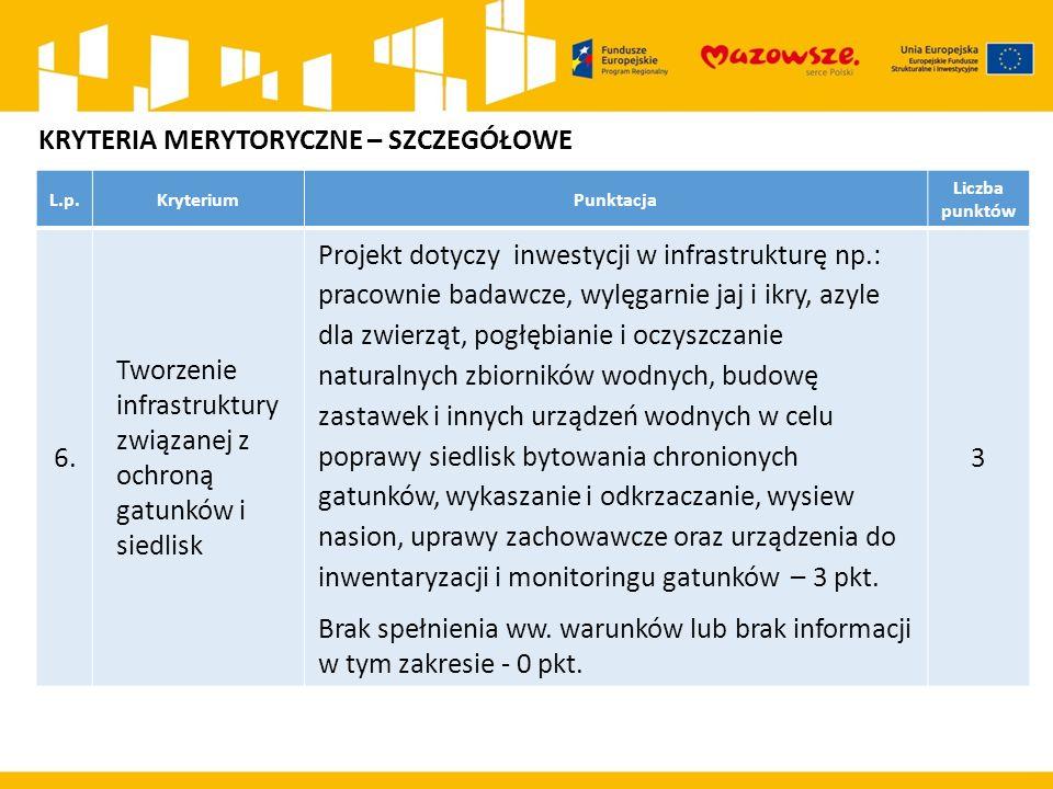 L.p.KryteriumPunktacja Liczba punktów 6. Tworzenie infrastruktury związanej z ochroną gatunków i siedlisk Projekt dotyczy inwestycji w infrastrukturę