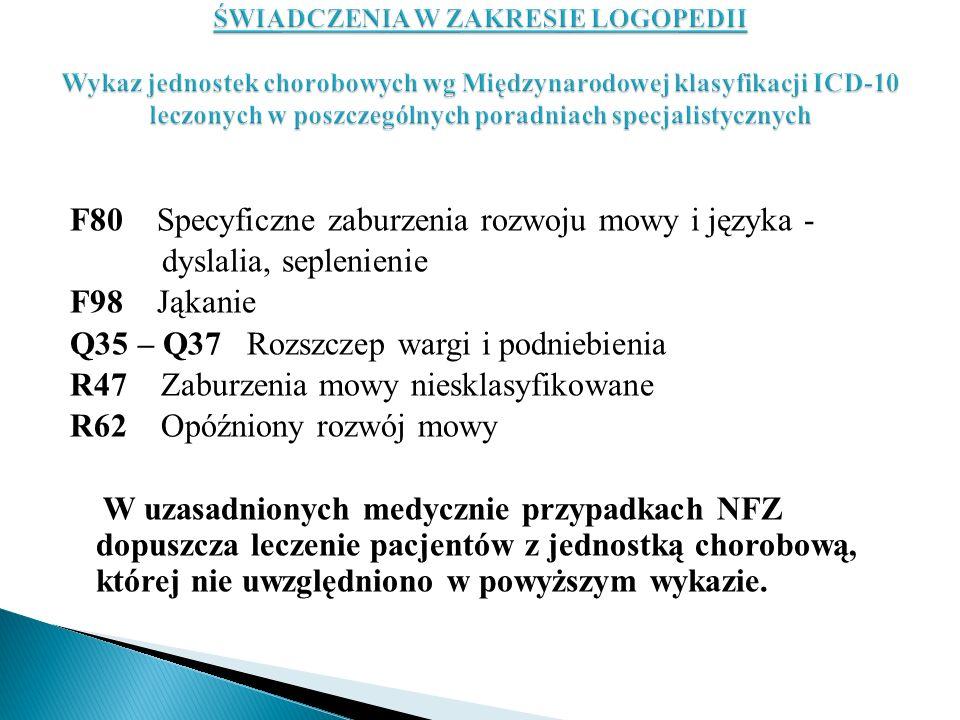 F80 Specyficzne zaburzenia rozwoju mowy i języka - dyslalia, seplenienie F98 Jąkanie Q35 – Q37 Rozszczep wargi i podniebienia R47 Zaburzenia mowy nies