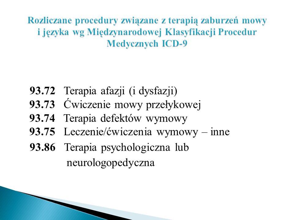 93.72 Terapia afazji (i dysfazji) 93.73 Ćwiczenie mowy przełykowej 93.74 Terapia defektów wymowy 93.75 Leczenie/ćwiczenia wymowy – inne 93.86 Terapia