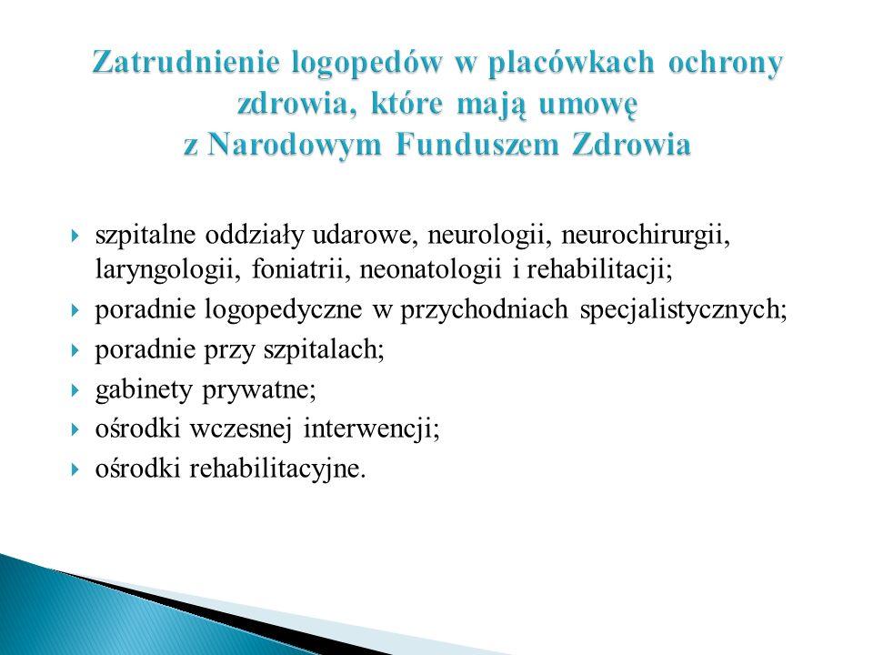  szpitalne oddziały udarowe, neurologii, neurochirurgii, laryngologii, foniatrii, neonatologii i rehabilitacji;  poradnie logopedyczne w przychodnia