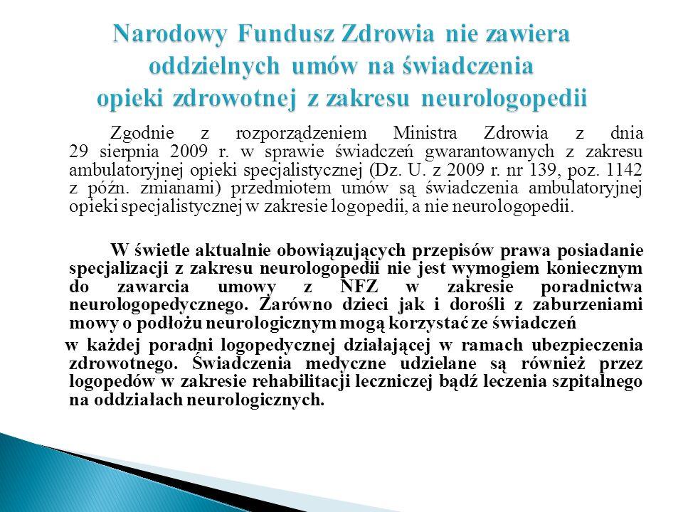 Zgodnie z rozporządzeniem Ministra Zdrowia z dnia 29 sierpnia 2009 r. w sprawie świadczeń gwarantowanych z zakresu ambulatoryjnej opieki specjalistycz