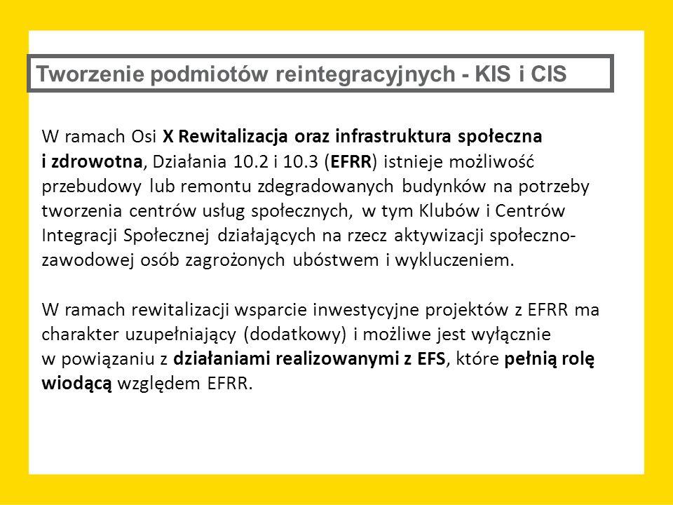Tworzenie podmiotów reintegracyjnych - KIS i CIS W ramach Osi X Rewitalizacja oraz infrastruktura społeczna i zdrowotna, Działania 10.2 i 10.3 (EFRR)