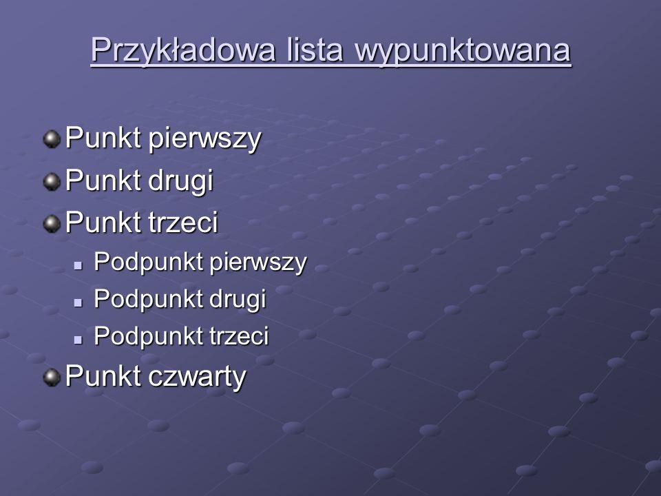 Przykładowa lista wypunktowana Punkt pierwszy Punkt drugi Punkt trzeci Podpunkt pierwszy Podpunkt pierwszy Podpunkt drugi Podpunkt drugi Podpunkt trze