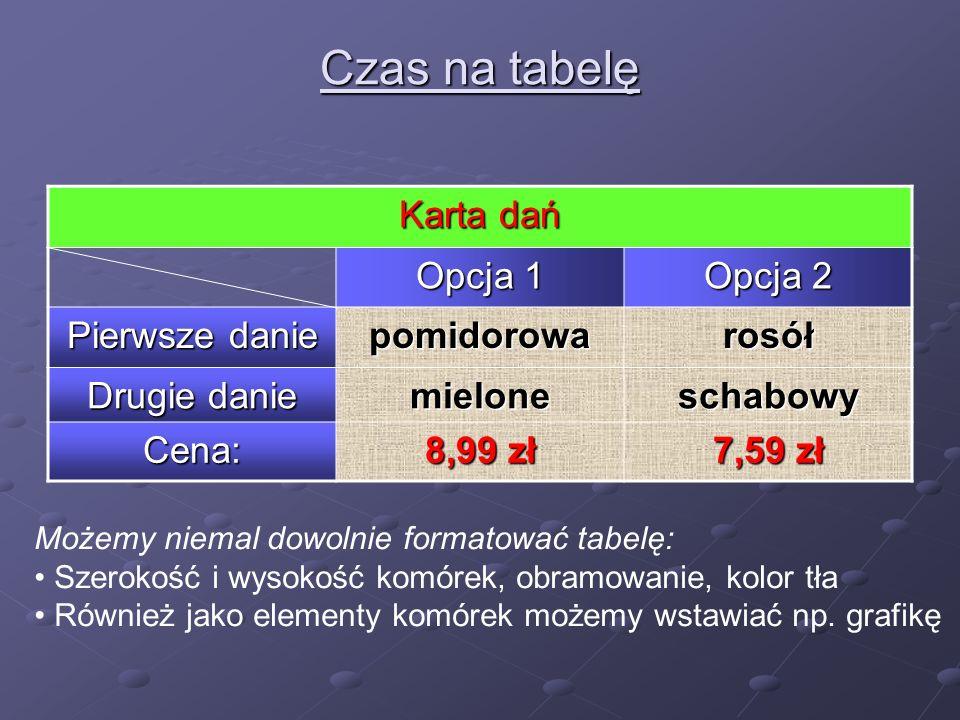 Czas na tabelę Karta dań Opcja 1 Opcja 2 Pierwsze danie pomidorowarosół Drugie danie mieloneschabowy Cena: 8,99 zł 7,59 zł Możemy niemal dowolnie formatować tabelę: Szerokość i wysokość komórek, obramowanie, kolor tła Również jako elementy komórek możemy wstawiać np.