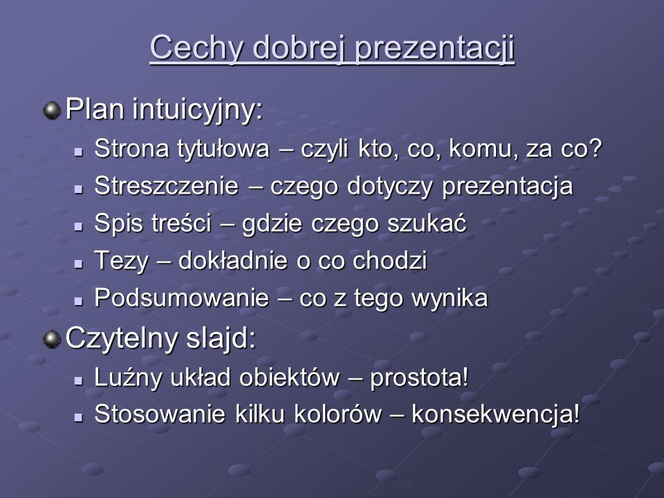 Cechy dobrej prezentacji – cd.