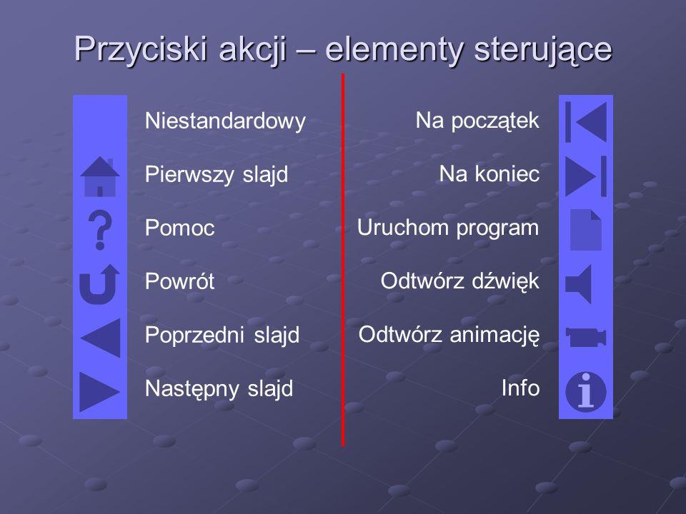 Przyciski akcji – elementy sterujące Niestandardowy Pierwszy slajd Pomoc Powrót Poprzedni slajd Następny slajd Na początek Na koniec Uruchom program Odtwórz dźwięk Odtwórz animację Info