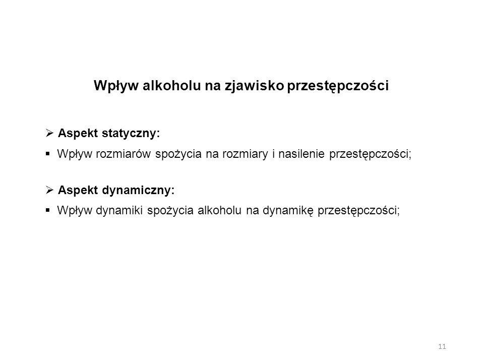 Wpływ alkoholu na zjawisko przestępczości  Aspekt statyczny:  Wpływ rozmiarów spożycia na rozmiary i nasilenie przestępczości;  Aspekt dynamiczny: